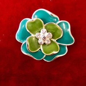 Enamel flower pin vintage